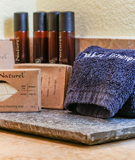 Soap bar, towel, and hair shampoo and condition display