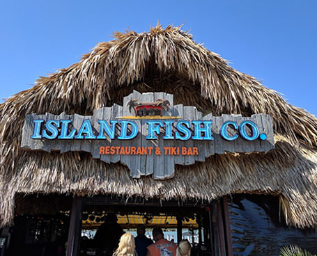 The Island Fish Co restaurant sign
