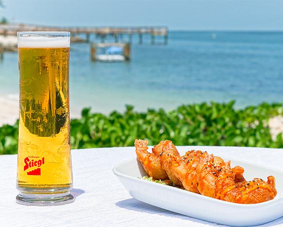 Sample menu and beach view from Havana Jacks