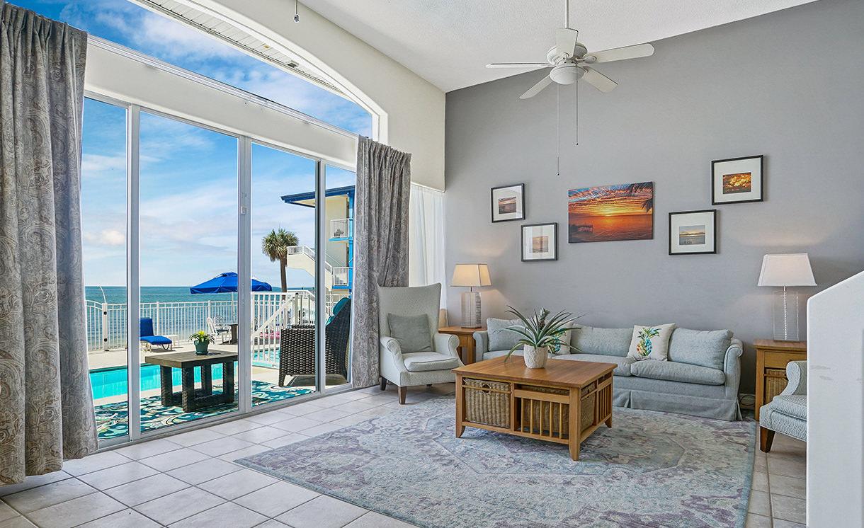 Villas living room, views to the pool
