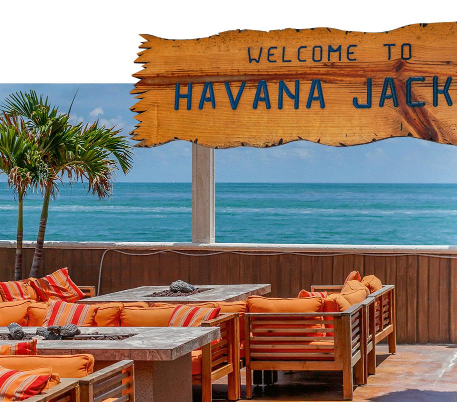 Havana Jack's sign restaurant and outside seating